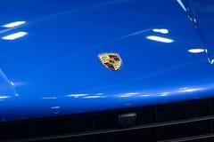 Thailand - Dec , 2018: close up porsche brand logo on car bonnet. Close up porsche brand logo on car bonnet royalty free stock images
