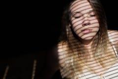Close up portait of beautiful girl wearing bra. Stock Photo