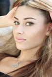 Close-up portrait. Of a fresh and beautiful young fashion model stock photography