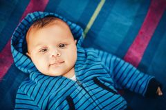 Close up portrait of adorable baby boy Stock Photo