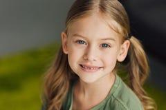 close-up portrait of adorable little child stock image
