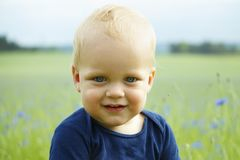 Close-up portrait of adorable smiling toddler in high summer grass. Close-up portrait of adorable smiling toddler in high summer grass stock images