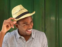 Close up portrait of an african american guy laughing Royalty Free Stock Photography