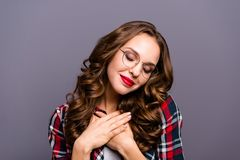 Close up portrait of amazing beautiful she her lady dreamy mood eyes closed overjoyed feelings emotions kindhearted. Sweet glad wearing specs checkered plaid royalty free stock image