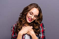 Close up portrait of amazing beautiful she her lady eyes closed overjoyed feelings emotions kindhearted sweet glad. Wearing specs checkered plaid shirt clothes royalty free stock images