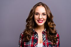 Close up portrait of amazing beautiful she her lady people person sweet awesome hairdo cosmetics toothy beaming smiling. Wearing specs checkered plaid shirt royalty free stock photos
