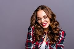 Close up portrait of amazing beautiful she her lady people person sweet awesome hairdo eyes closed chill wearing specs. Checkered plaid shirt clothes isolated stock image