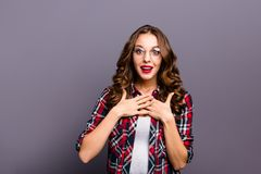 Close up portrait of amazing beautiful she her lady win money prize best worker of year speechless wondered wearing. Specs checkered plaid shirt clothes royalty free stock images