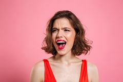 Close up portrait of an angry pretty woman Stock Photography