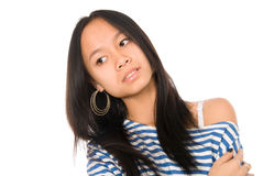 Close-up portrait of Asian girl look aside Royalty Free Stock Images