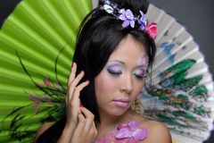 Close-up portrait of asian girl with make-up Royalty Free Stock Images