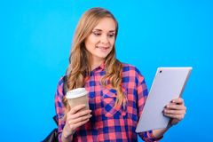 Close up portrait of attractive confident cheerful excited smart clever glad businesswoman freelancer enjoying tea shop watching v royalty free stock photos
