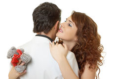Close-up portrait of attractive couple flirting Stock Image