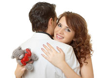 Close-up portrait of attractive couple flirting Royalty Free Stock Photos