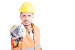 Close up portrait of attractive engineer pointing at you Stock Images