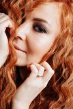 Close up portrait of young beautiful redhead girl royalty free stock images