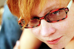 Close up portrait of attractive redheaded woman Royalty Free Stock Photo