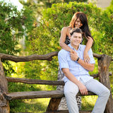 Close up portrait of attractive young couple in love outdoors. Close up portrait of attractive young couple in love outdoor Royalty Free Stock Photo