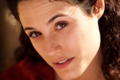 Close up attractive young woman staring. Close up portrait of attractive young woman staring Royalty Free Stock Photos