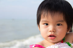 Close up portrait of baby girl. Near beach Royalty Free Stock Photography