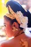 Traditinal hair style and jewellery of Balinese bride stock photos