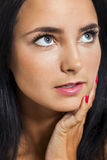 Close up Portrait of Bare Young Woman Looking Afar Stock Photo