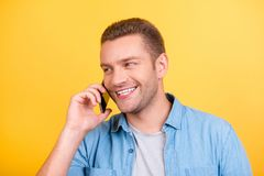 Close up portrait of bearded, cheerful, attractive man on holida stock photography