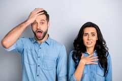 Close up portrait beautiful amazing she her he him his couple lady guy look oh no facial expression unbelievable. Unexpected news wear casual jeans denim shirts royalty free stock photos