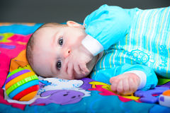 Close-up portrait of a beautiful baby girl royalty free stock image