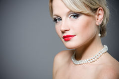 Close-up portrait of a beautiful blond woman with Royalty Free Stock Image