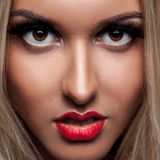 Close up portrait of beautiful blonde woman with make up Royalty Free Stock Images