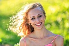 Close-Up Portrait Of Beautiful Blonde Woman Stock Photo