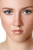 Close-up portrait of beautiful blue eyed model Royalty Free Stock Photos