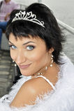 Close-up portrait of beautiful bride with crown Stock Photo
