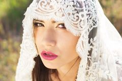 Close-up portrait of a beautiful bride hidden veil Royalty Free Stock Image