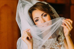 Close-up portrait of beautiful bride in wedding dress hiding her face with a light veil Royalty Free Stock Photography