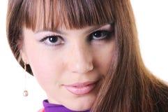 Close-up portrait of beautiful brunette. Stock Images