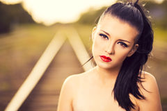 Close-up portrait of beautiful brunette Royalty Free Stock Images