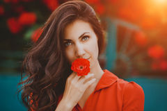 Close-up portrait of beautiful brunette woman with red rose in her lips. Toned image Royalty Free Stock Photos