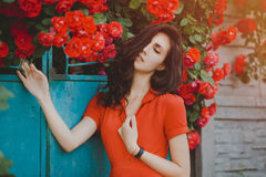 Close-up portrait of beautiful brunette woman with red roses. Toned image Royalty Free Stock Photography