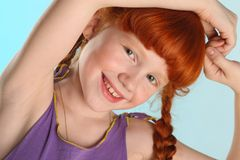 Close-up portrait of little redhead pre-teen fashion girl-model Stock Photography