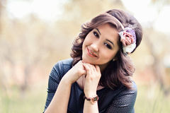 Close-up portrait of beautiful, cute girl with wreath of rose royalty free stock photo