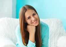 Close up portrait of a beautiful cute teen girl smilling. Indoor Royalty Free Stock Photos