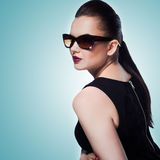 Close-up portrait of beautiful and fashion girl in sunglasses, s Royalty Free Stock Photography