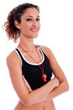 Close up portrait of a beautiful fitness woman Stock Images