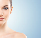 Close-up portrait of beautiful, fresh, healthy and sensual girl.  Royalty Free Stock Image