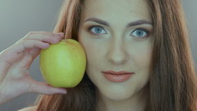 Close-up portrait of beautiful, fresh, healthy and stock footage