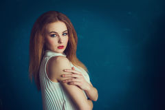 Close-up portrait beautiful girl. Royalty Free Stock Images