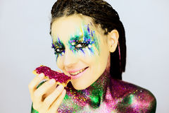 Close up portrait of a beautiful girl with creative glitter make up Royalty Free Stock Image