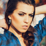 Close-up portrait of a beautiful girl hipster. Outdoors, lifestyle Stock Images